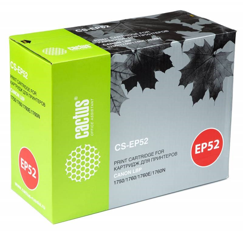 Картридж Cactus CS-EP52 для Canon LBP 1750 1760 1760E 1760N черный 10000стр high quality black laser toner powder for canon epw ep 72 ep 72 lbp 930 lbp 2460 lbp 950 lbp950 1kg bag printer