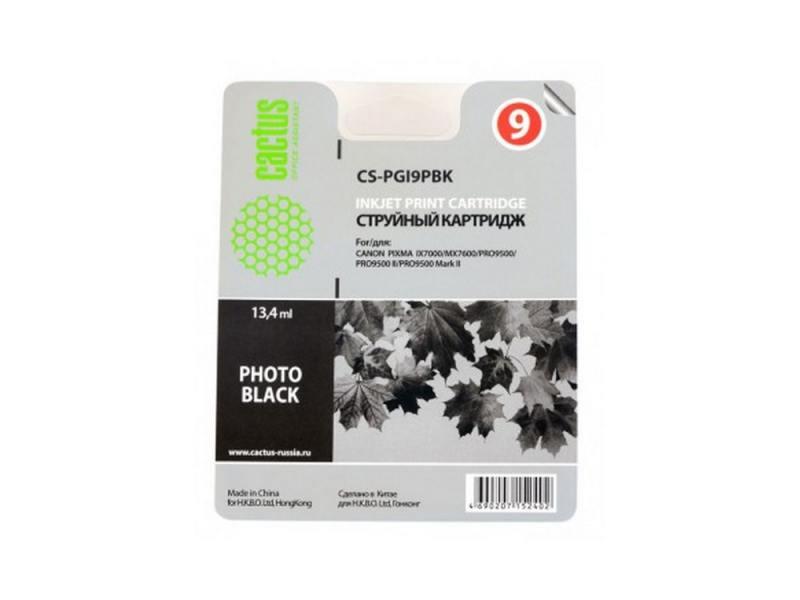 Картридж Cactus CS-PGI9PBK для Canon Pixma X7000 MX7600 PRO9500 фото черный картридж cactus black для pixma pro9000 markii pro9500 13 4ml cs pgi9pbk