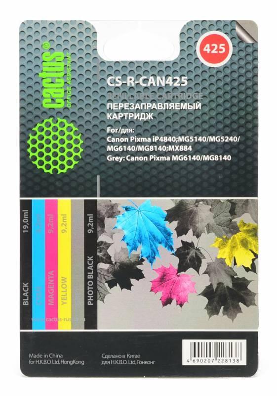 Комплект перезаправляемых картриджей Cactus CS-R-CAN425 для Canon PIXMA iP4840 MG5140/524 комплект перезаправляемых картриджей cactus cs r can520