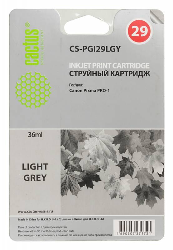 Картридж Cactus CS-PGI29LGY для Canon Pixma Pro-1 серый картридж совместимый для струйных принтеров cactus cs pgi29r красный для canon pixma pro 1 36мл cs pgi29r