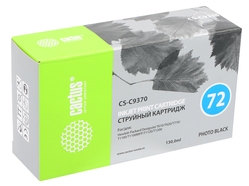 Картридж Cactus CS-C9370 №72 для HP DesignJet T610/T620/T770/T1100/T1100MFP/T1120/T1200 фото-черный gzlspart for hp 770 1200 t770 t1200 hp770 hp1200 original used formatter board ch538 80003 designjet printer parts on sale