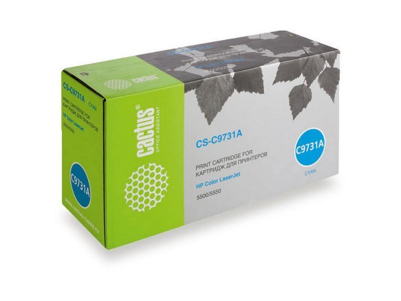 Картридж Cactus CS-C9731A для HP Color LaserJet 5500/5550 голубой 12000стр картридж cactus cs c6658 58 для hp dj 5550 фото черный