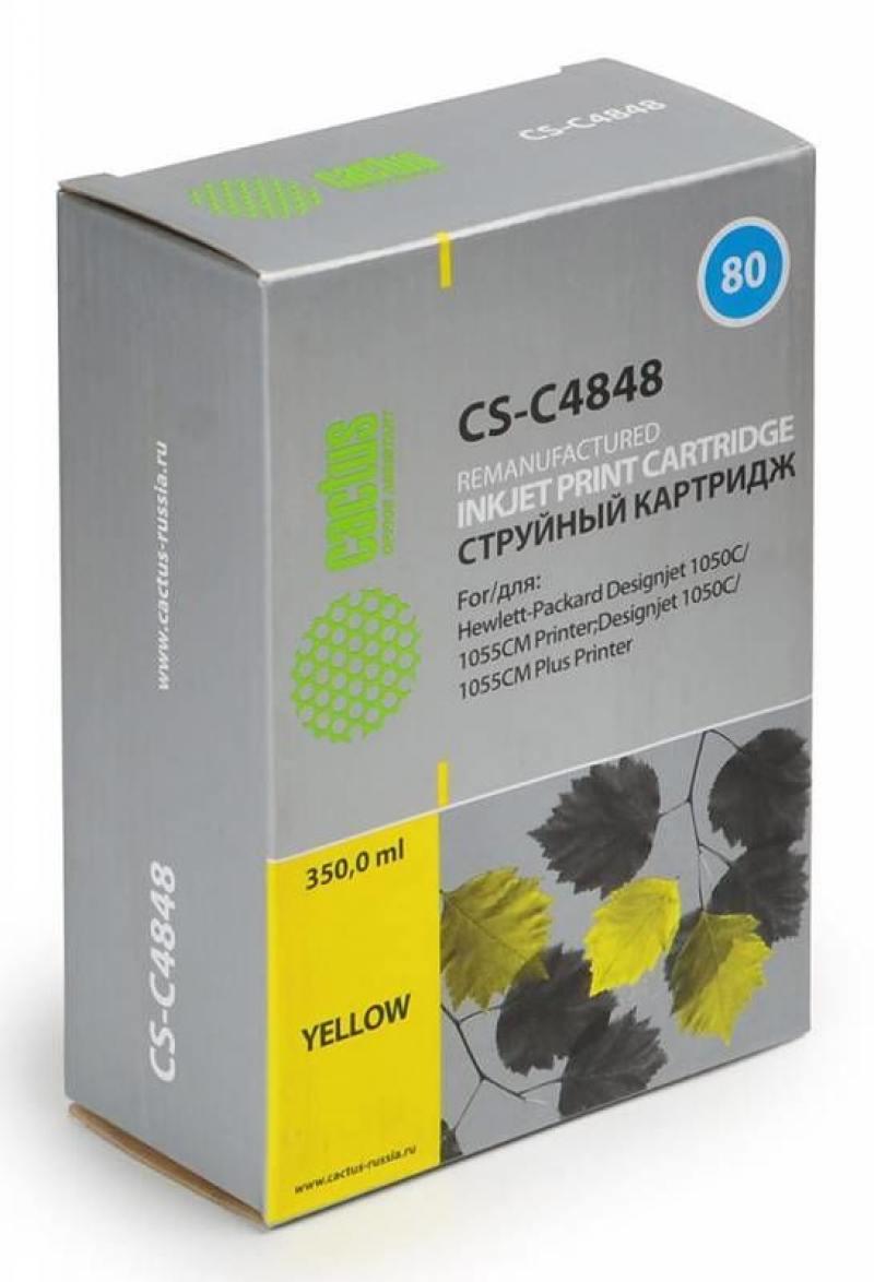 Картридж Cactus CS-C4848 для HP DesignJet 1050C/1055CM/1000 желтый cactus cs lq1000 black картридж ленточный для epson lq 1000 1050 1070 1170 fx lx 1000 1050 1070 1150 1170