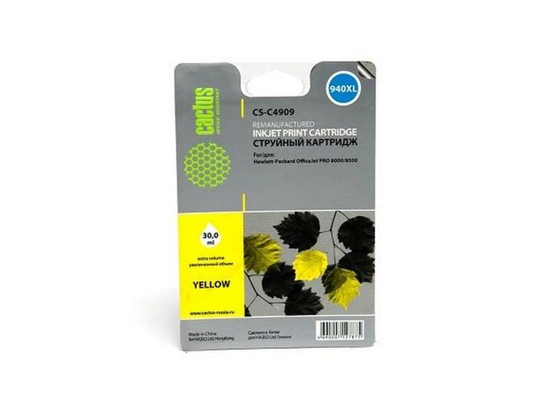 Картридж Cactus CS-C4909 для HP OfficeJet PRO 8000/8500 желтый картридж совместимый для струйных принтеров cactus cs pgi29y желтый для canon pixma pro 1 36мл cs pgi29y