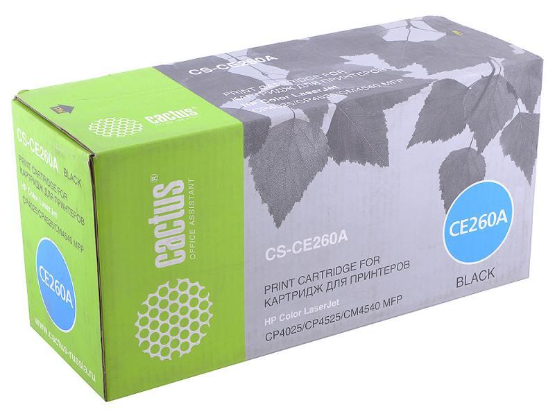 Картридж CACTUS CS-CE260A для принтеров HP Сolor LaserJet CP4025/CP4525/CM4540mfp черный 8500стр цены онлайн