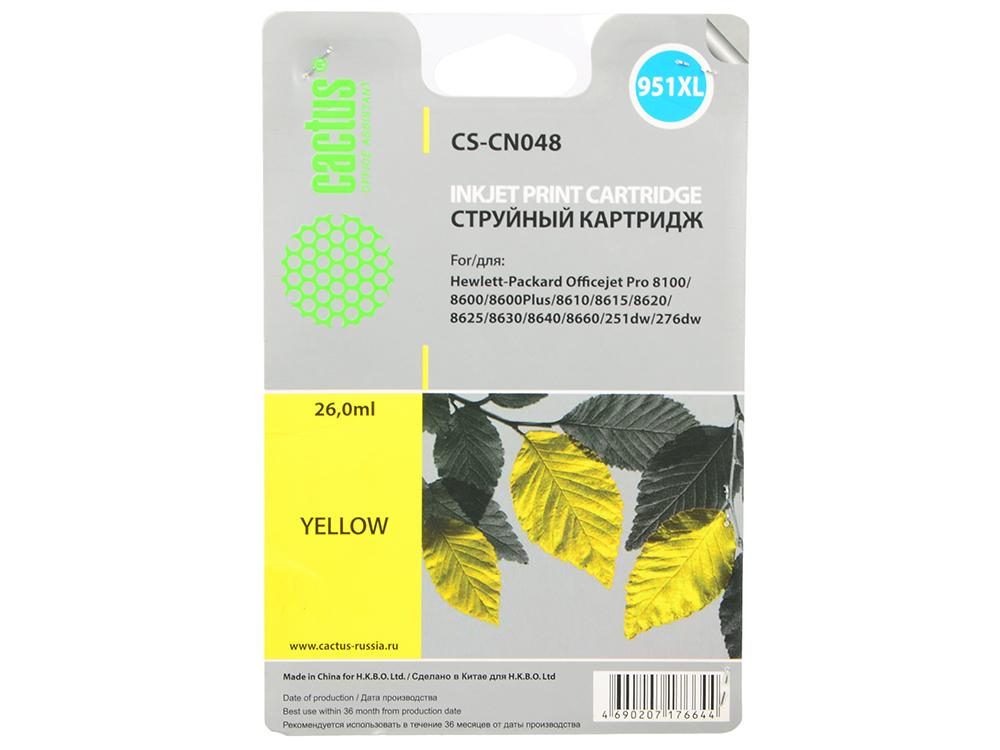Картридж Cactus CS-CN048 №950/951XL для P OfficeJet Pro 8100/8600 желтый 26мл kodak 1163641 1163641 ink 425 page yield black