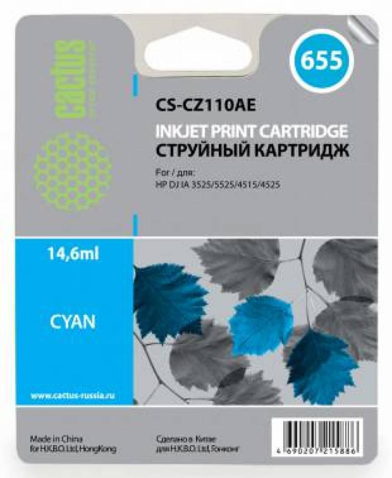 Картридж Cactus CS-CZ110AE №655 для HP DJ IA 3525/5525/4515/4525 голубой картридж cactus cs cz109ae 655 для hp dj ia 3525 5525 4515 4525 черный