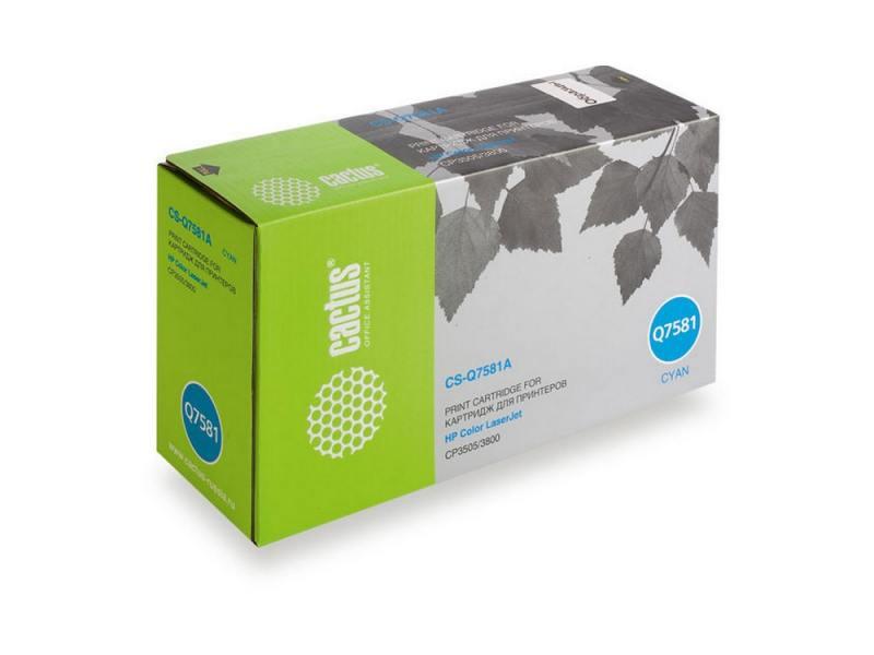 Картридж Cactus CS-Q7581A для HP Color LaserJet CP3505/3800 голубой 6000стр nwe cb446 60001 for hp color laserjet cp3505 cp3505n printer formatter board