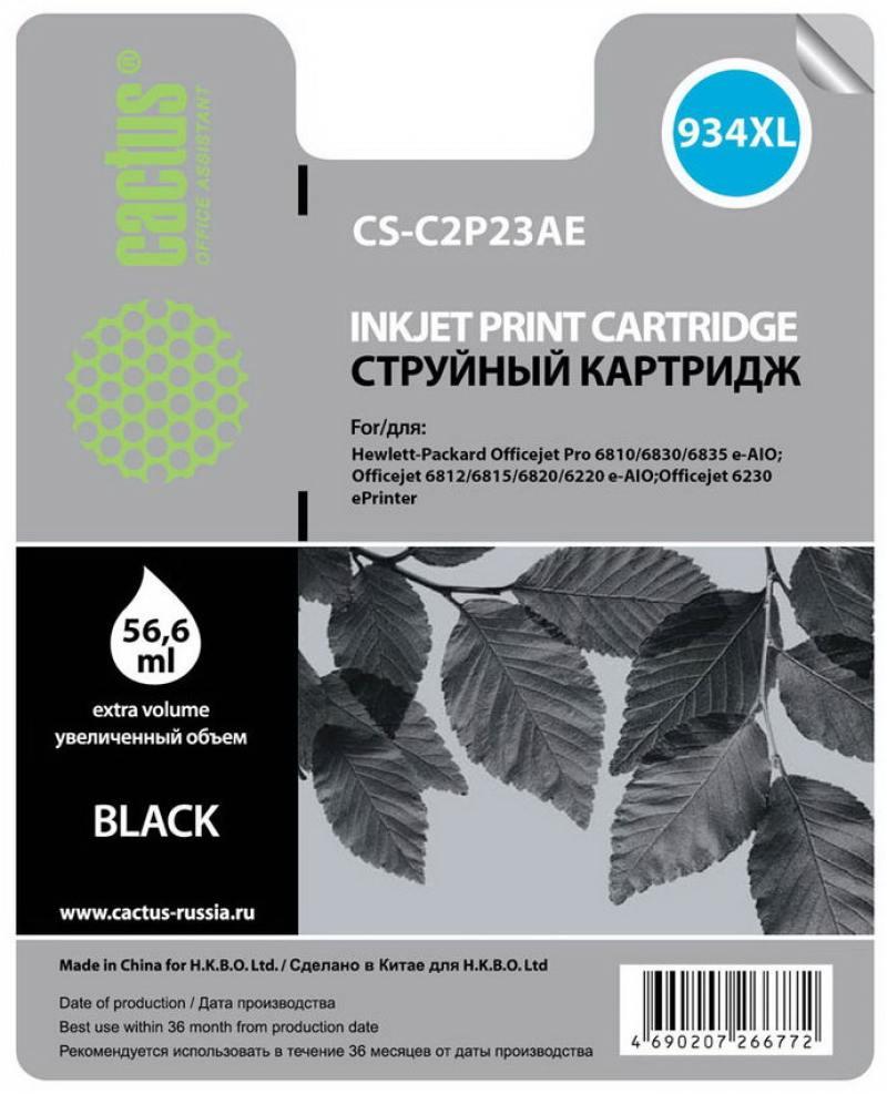 Картридж струйный Cactus CS-C2P23AE №934XL черный для HP DJ Pro 6230/6830 (30мл) картридж cactus cs c6658 58 для hp dj 5550 фото черный