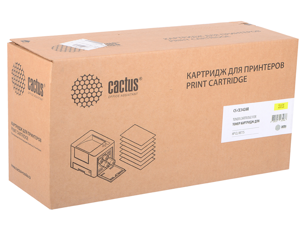Тонер Картридж Cactus CS-CE342AR желтый для HP CLJ M775 (16000стр.) картридж cactus cs ept1634 для epson wf 2010 2510 2520 2530 2540 2630 2650 2660 желтый