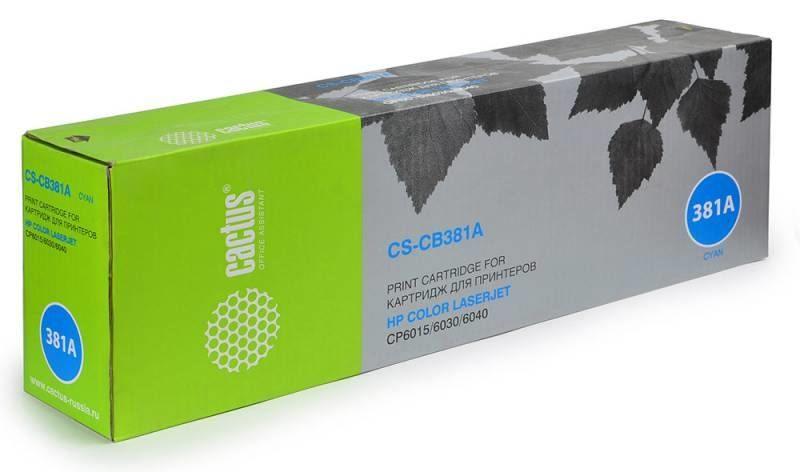 Тонер-картридж Cactus CS-CB381A для HP CLJ MFP CM6030/CM6040/CP6015 голубой 21000стр тонер картридж cactus cs ep22s