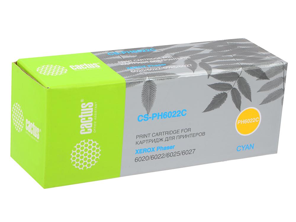 Картридж Cactus CS-PH6022C 106R02760 для Xerox Phaser 6020/6022/WC6025/6027 голубой 1000стр цены онлайн