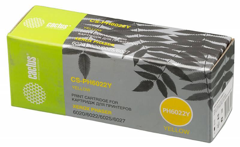 все цены на  Картридж Cactus CS-PH6022Y 106R02762 для Xerox Phaser 6020/6022/WC 6025/6027 желтый 1000стр  онлайн