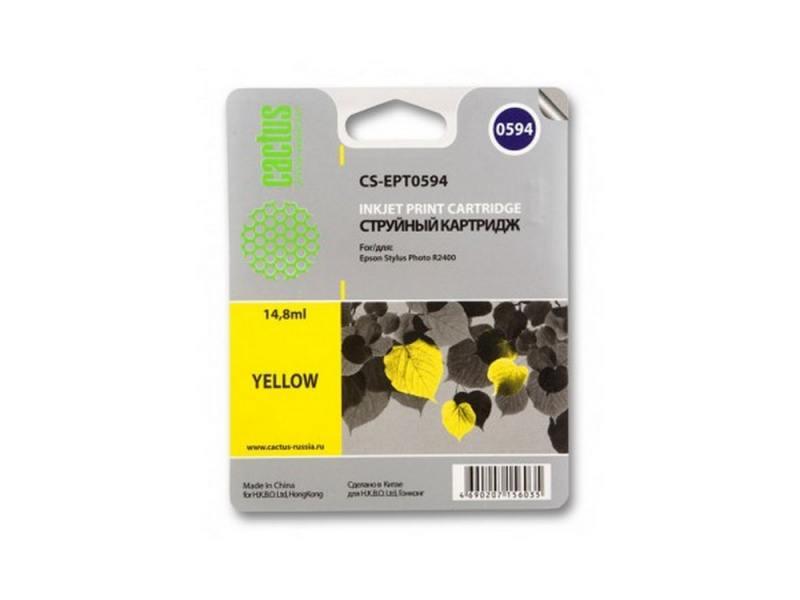 Картридж Cactus CS-EPT0594 для Epson Stylus Photo R2400 желтый 560стр картридж epson t009402 для epson st photo 900 1270 1290 color 2 pack