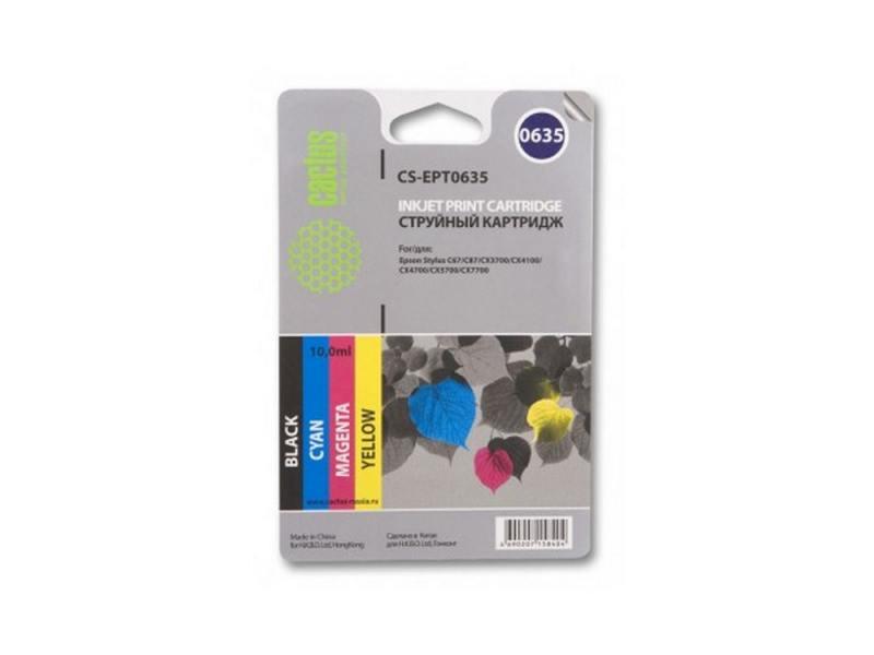 Картридж Cactus CS-EPT0635 для Epson Stylus C67 C87 цветной 250стр картридж cactus cs ept0735 для epson stylus с79 c110 сх3900 cx4900 цветной 270стр 4шт
