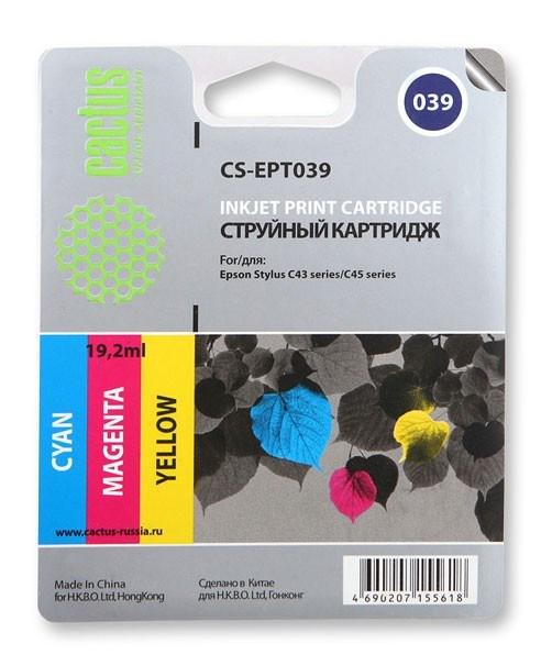 Картридж Cactus CS-EPT039 для Epson Stylus C43 цветной 550стр картридж cactus cs ept0735 для epson stylus с79 c110 сх3900 cx4900 цветной 270стр 4шт