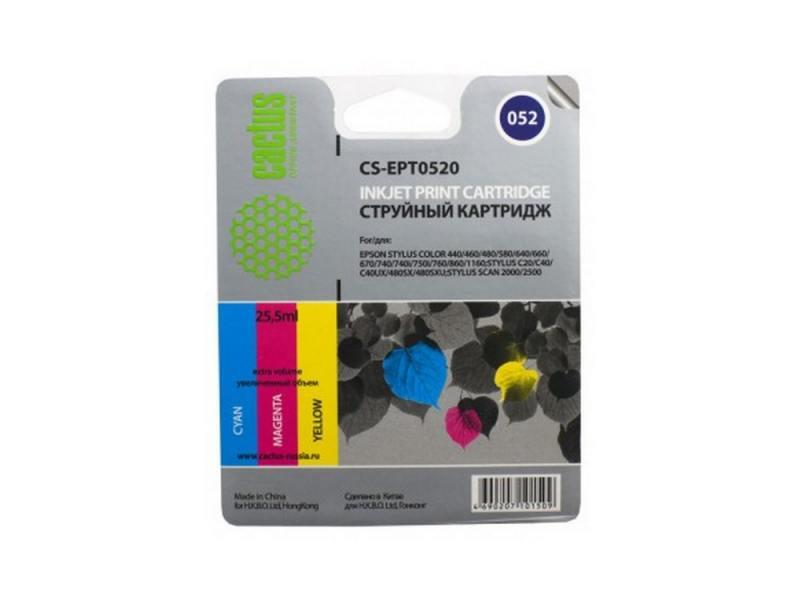 Картридж Cactus CS-EPT0520 для Epson Stylus Color 400 440 460 600 640 цветной картридж cactus cs ept0735 для epson stylus с79 c110 сх3900 cx4900 цветной 270стр 4шт