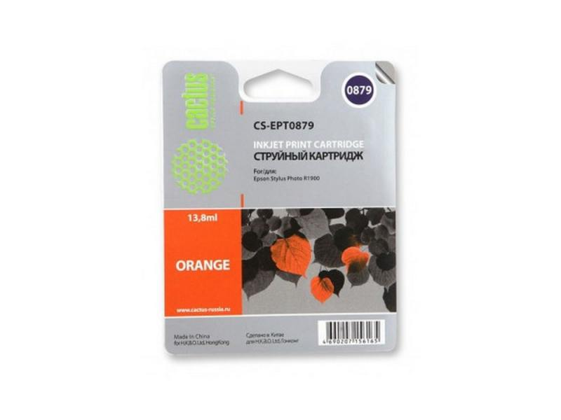Картридж Cactus CS-EPT0879 для Epson Stylus Photo R1900 оранжевый 1220стр картридж epson t009402 для epson st photo 900 1270 1290 color 2 pack
