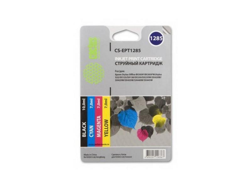 Картридж Cactus CS-EPT1285 для Epson Stylus S225 BX305 цветной 215стр 4шт набор картриджей cactus cs r ept1285