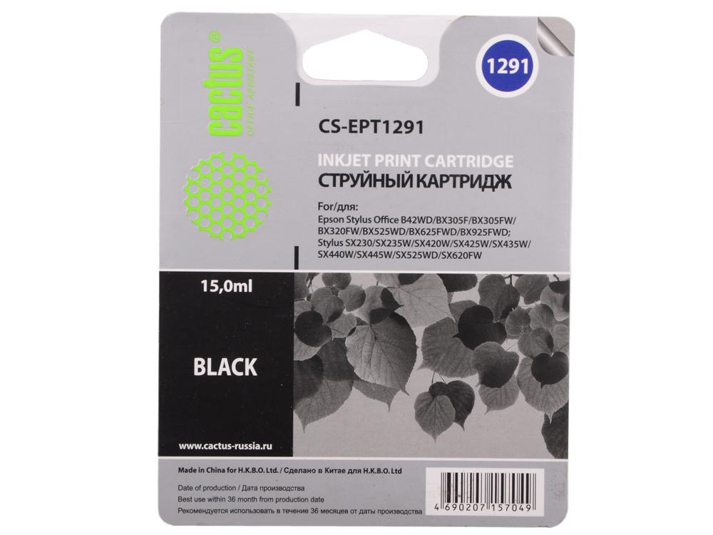 Картридж Cactus CS-EPT1291 для Epson Stylus Office B42/BX305/BX305F/BX320 15мл черный картридж cactus cs ept1634 для epson wf 2010 2510 2520 2530 2540 2630 2650 2660 желтый