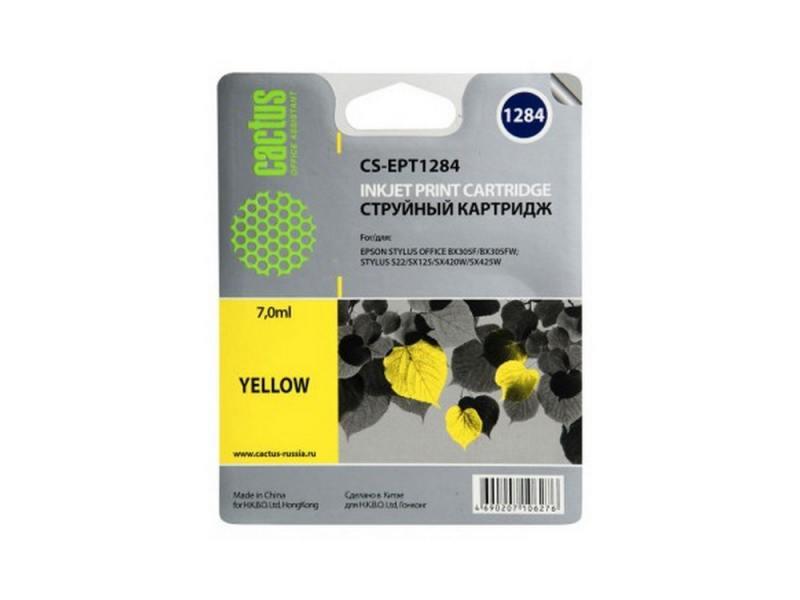 Картридж Cactus CS-EPT1284 для Epson Stylus S22 SX125 SX420 SX425 BX305 желтый