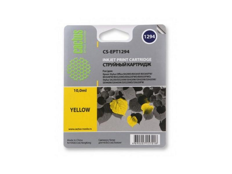 Картридж Cactus CS-EPT1294 для Epson Stylus Office B42 BX305 BX305F BX320 желтый 630стр
