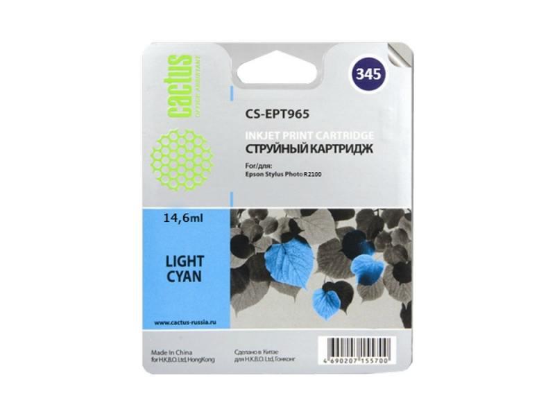 Картридж Cactus CS-EPT345 для Epson Stylus Photo 2100 светло-голубой 440стр картридж epson c13t05954010 для stylus photo r2400 светло голубой 440стр