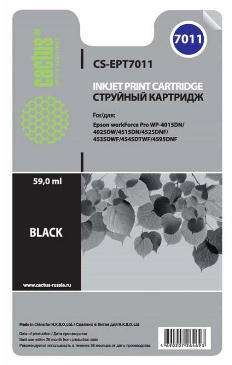 Картридж CACTUS CS-EPT7011 для Epson WorkForce WF-4015/4020/4025/4095/4515/4525 черный 2 set t677 with 4pc t6710 chips for epson workforce pro wp 4530 4540 4092 4511 4521 4531 4025 4015 4515 printer maintenance