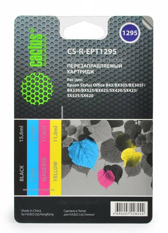 Комплект перезаправляемых картриджей Cactus CS-R-EPT1295 для Epson Stylus Office B42/BX305/BX305F комплект перезаправляемых картриджей cactus cs r can520