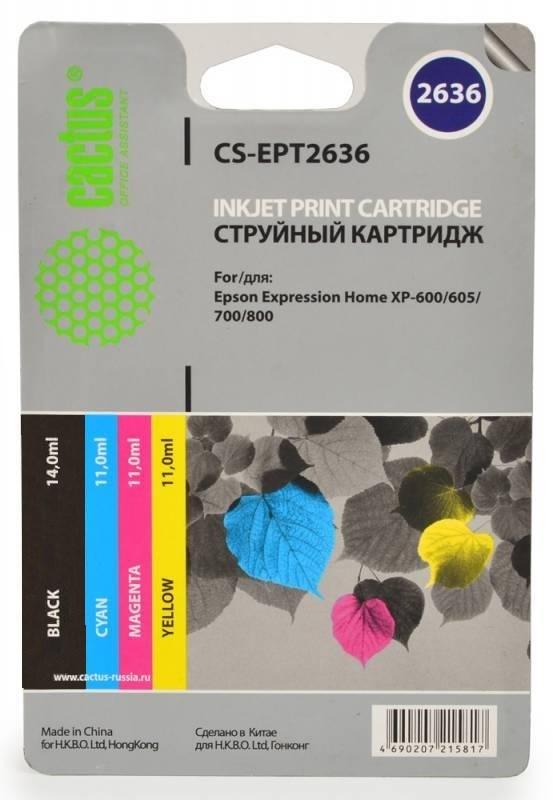 Картридж CACTUS CS-EPT2636 для Epson Expression Home XP-600/605/700 4 картриджа многоцветный