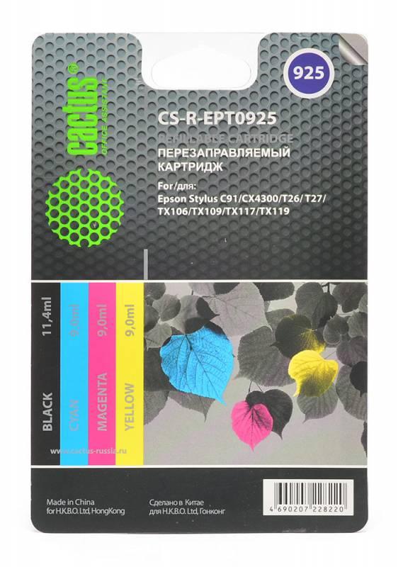 Картридж Cactus CS-R-EPT0925 для Epson Stylus C91/CX4300/T26/T27/TX106/TX109/TX117 цветной 4шт комплект картриджей cactus cs r ept0925