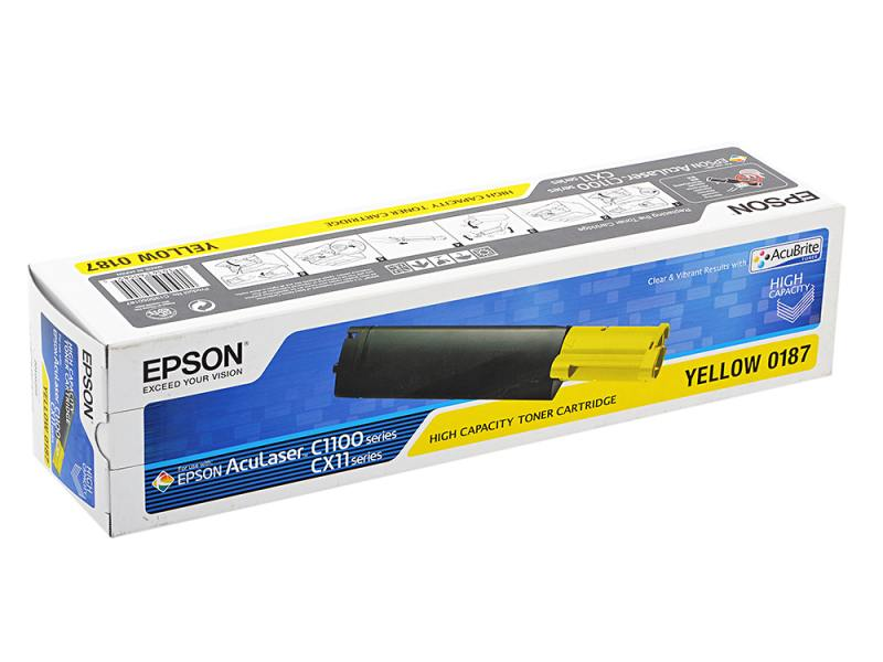 Картридж Epson C13S050187 для Epson AcuLaser C1100 4000стр желтый s051189 c13s051189 drum cartridge chip for epson aculaser m8000n m8000 m 8000n 8000 copier printer toner powder reset counter