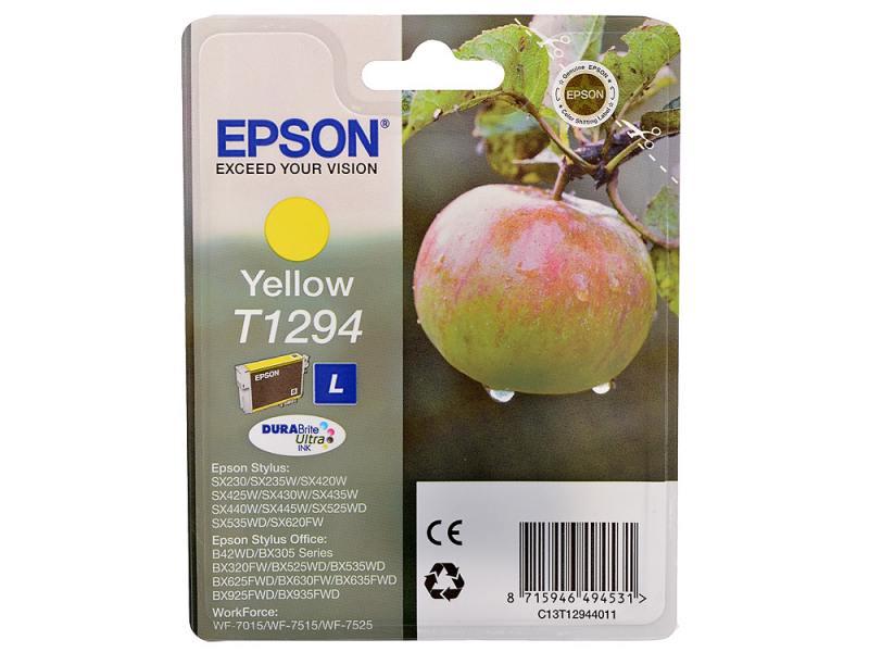 Картинка для Картридж Epson C13T12944011/C13T12944021 для Epson Stylus SX420/425/525WD/B42WD/BX320FW желтый