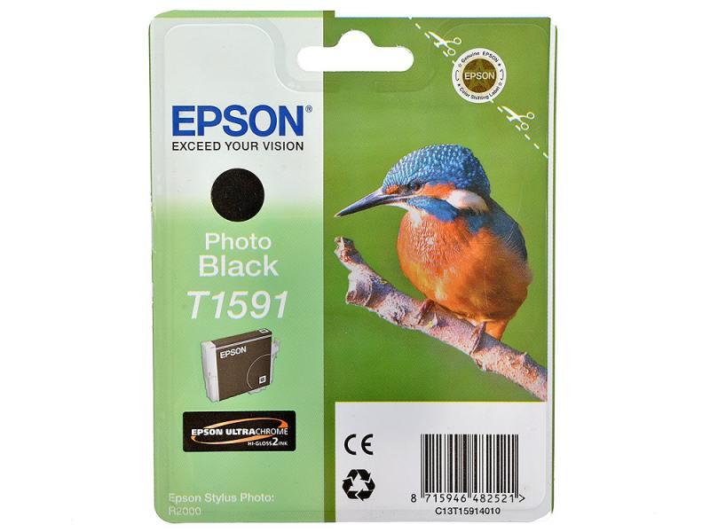 Картридж Epson C13T15914010 для Epson Stylus Photo R2000 Photo Black черный оригинальные подлинный epson epson r2000 разбирать картриджа для epson t1590 t15