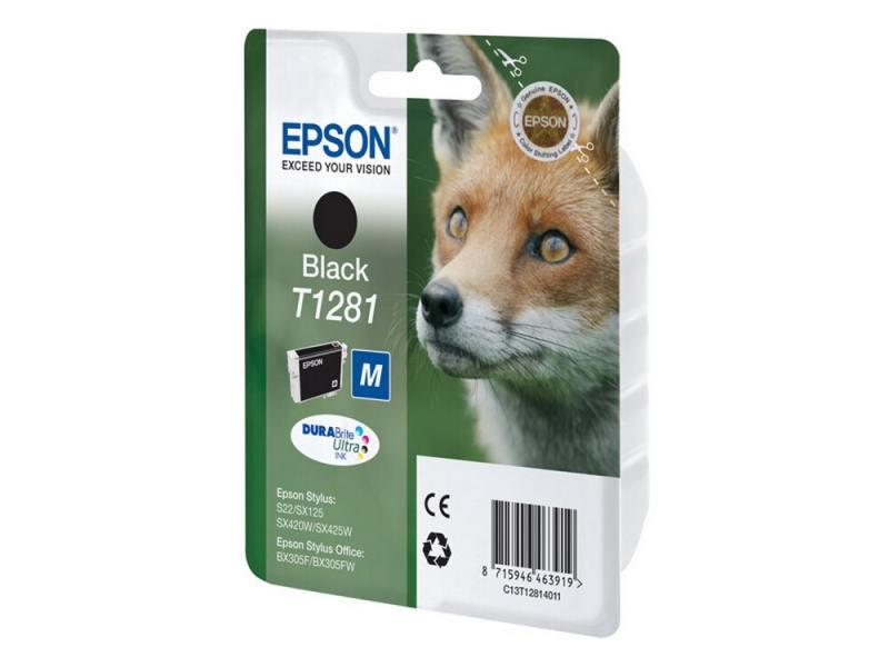 Картридж Epson C13T12814011 для S22 SX125 Black Черный картридж epson t1361 black для k101 k201 k301 c13t13614a10 2шт в упаковке