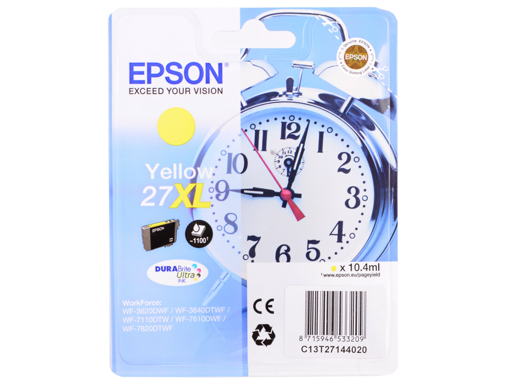 Картридж Epson C13T27144020 для Epson WF-3620/3640/7110/7610/7620 желтый ink maintenance box chip resetter t6711 for epson for epson wf 3520 3530 3540 wf 3620 3640 wf 7510 7520 7610 7620 7110 printers