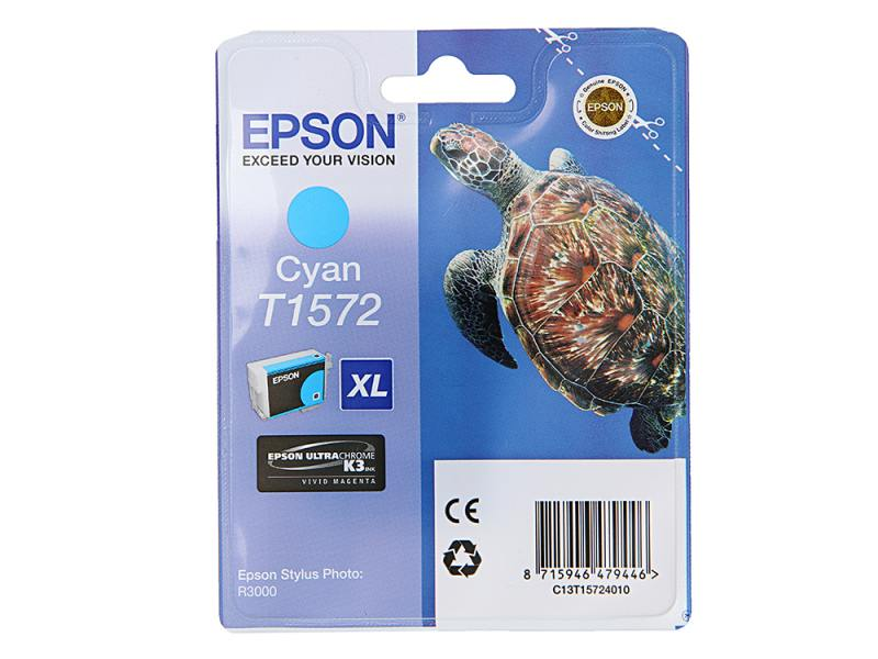 Картридж Epson C13T15724010 для Epson Stylus Photo R3000 голубой картридж epson color stylus photo 790 870 890 c13t00840110
