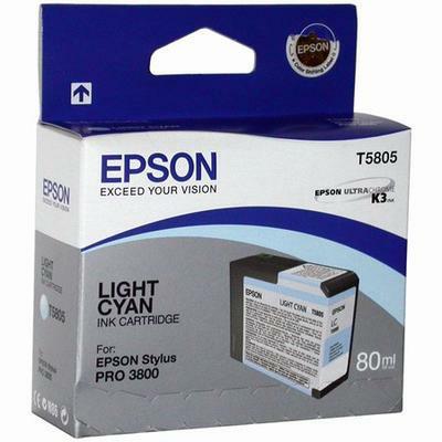 Картридж Epson C13T580500 для Epson Stylus Pro 3800 светло-голубой картридж струйный epson t5805 c13t580500 светло голубой 80мл для epson st pro 3800