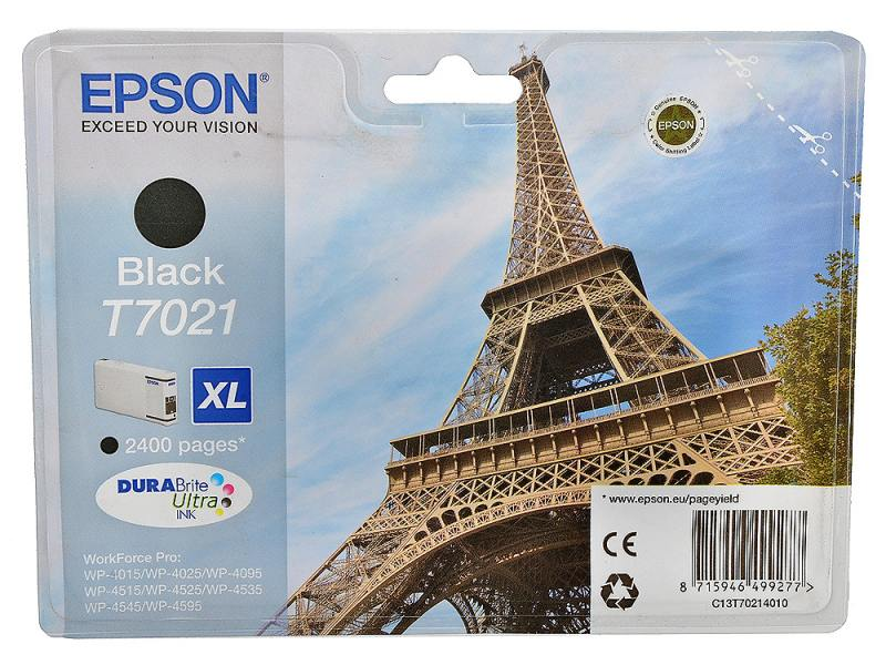 Картридж Epson C13T70214010 для Epson WP 4000/4500 Series черный 2400стр epson t7014 xl c13t70144010 yellow картридж для workforce pro wp 4000 5000 series