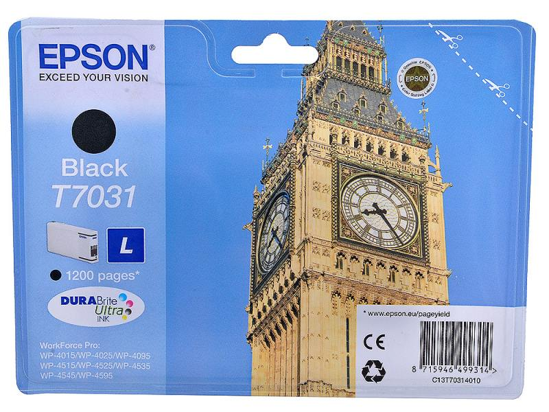 Картридж Epson C13T70314010 для Epson WP4000/4500 черный картридж epson t7031 l black для workforce pro 4000 4500 c13t70314010