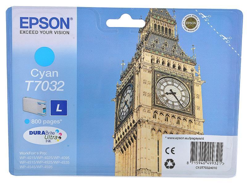 Картридж Epson C13T70324010 L для WP 4000 4500 голубой 800стр картридж epson c13t70334010 l для wp 4000 4500 series magenta пурпурный