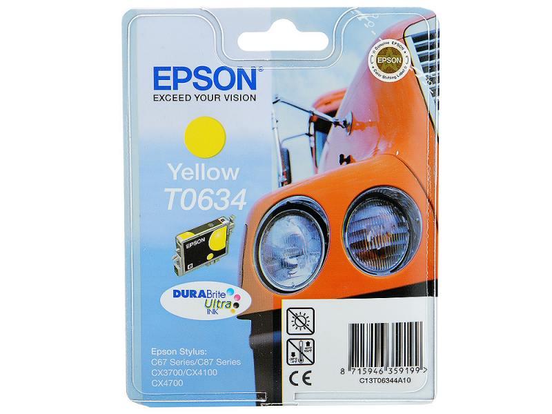 Картридж Epson C13T06344A10 для Stylus C67 C87 CX3700 CX4100 CX4700 Yellow Желтый epson c13t17044a10 yellow