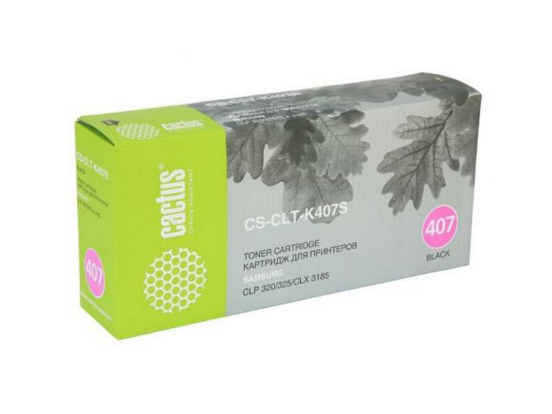 Картридж CACTUS CS-CLT-K407S для Samsung CLP-325 CLX-3185 черный 1500стр toner powder and chip for samsung 506 clt 506 for clp 680 clx6260fw clx 6260nd clx 6260nr laser printer hot sale