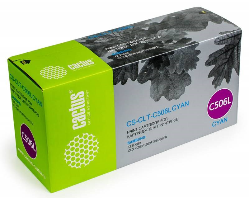 Картридж Cactus CS-CLT-C506L для Samsung CLP 680 CLX 6260/6260FD/6260FR голубой 3500стр toner powder and chip for samsung 506 clt 506 for clp 680 clx6260fw clx 6260nd clx 6260nr laser printer hot sale