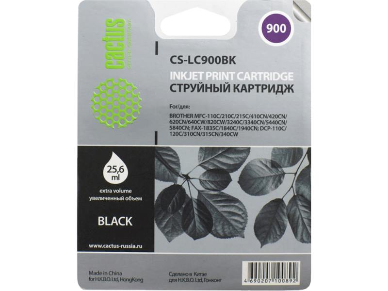 Картридж Cactus LC-900BK для Brother DCP-110/115/120/MFC-210/215 черный 500стр