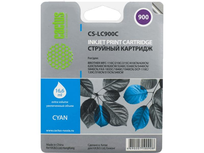 Картридж Cactus LC-900C для Brother DCP-110/115/120/MFC-210/215 голубой 400стр