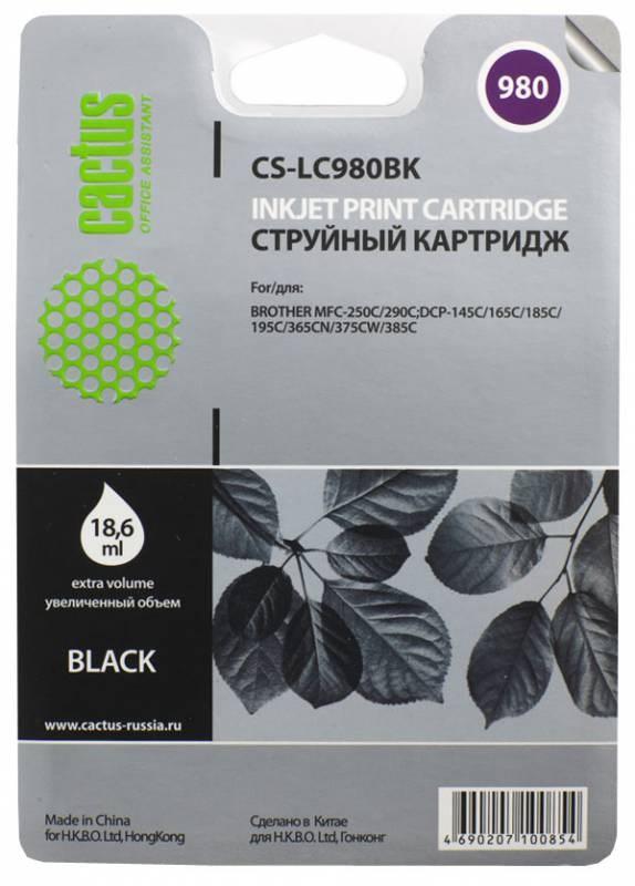 Картридж Cactus LC-980BK для Brother DCP-145C/165C MFC-250C/290C черный 300стр cactus lc 980bk brother dcp 145c 165c mfc 250c 290c 300