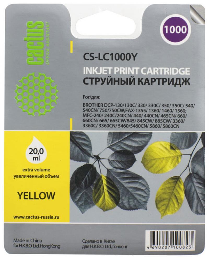 Картридж струйный Cactus CS-LC1000Y желтый для Brother DCP 130C/330С/MFC-240C/5460CN (20мл) картридж brother струйный lc1000y yellow for dcp 130 330