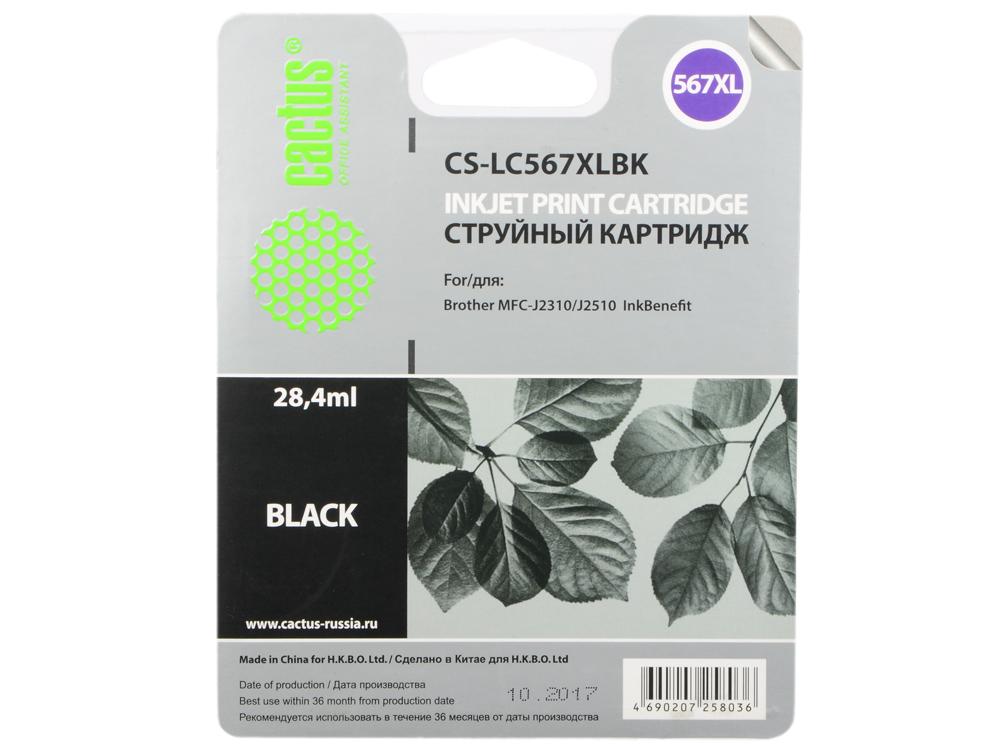 Картридж струйный Cactus CS-LC567XLBK черный для Brother MFC-J2510