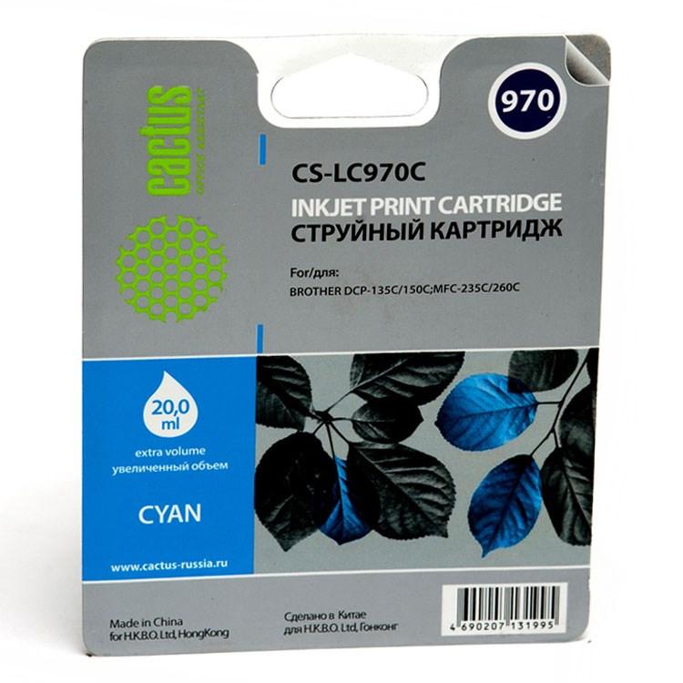 Картридж струйный Cactus CS-LC970C голубой для Brother DCP-135C/150C/MFC-235C/260C (20мл) refillable color ink jet cartridge for brother printers dcp j125 mfc j265w 100ml